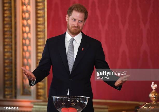 Prince Harry Duke of Sussex the Patron of the Rugby Football League hosts the Rugby League World Cup 2021 draws at Buckingham Palace on January 16...