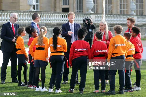 Prince Harry, Duke of Sussex, the Patron of the Rugby Football League hosts the Rugby League World Cup 2021 draws for the men's, women's and...