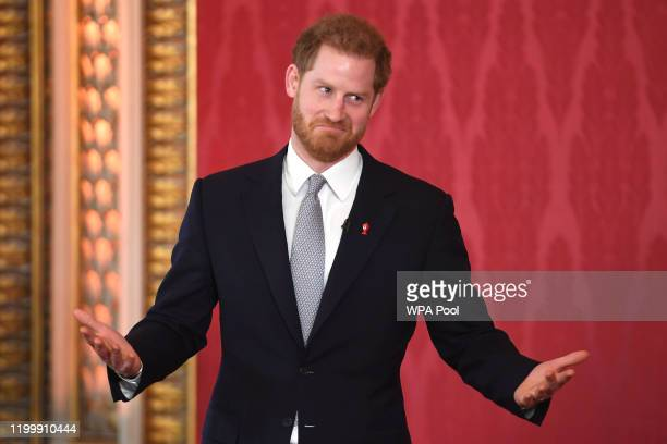 Prince Harry, Duke of Sussex, the Patron of the Rugby Football League hosts the Rugby League World Cup 2021 draws at Buckingham Palace on January 16,...