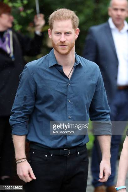 Prince Harry Duke of Sussex visits Abbey Road Studios to meet Jon Bon Jovi and the Invictus Games Choir at Abbey Road Studios on February 28 2020 in...