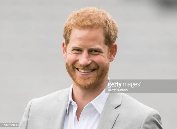 Prince Harry Duke of Sussex visits Croke Park home of Ireland's largest sporting organisation the Gaelic Athletic Association on July 11 2018 in...
