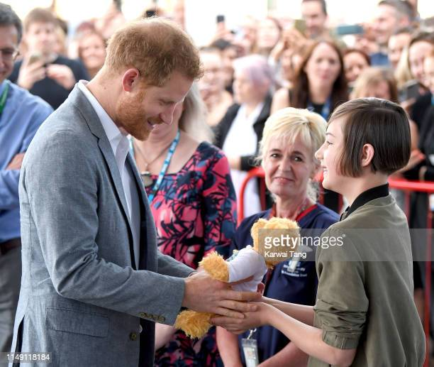 Prince Harry Duke of Sussex visits John Ratcliffe Children's Hospital on May 14 2019 in Oxford England