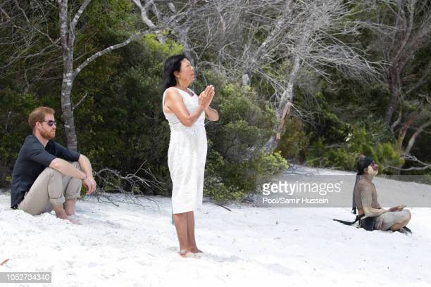 Prince Harry, Duke of Sussex visits Lake McKenzie on October 22, 2018 in Fraser Island, Australia. The Duke and Duchess of Sussex are on their...