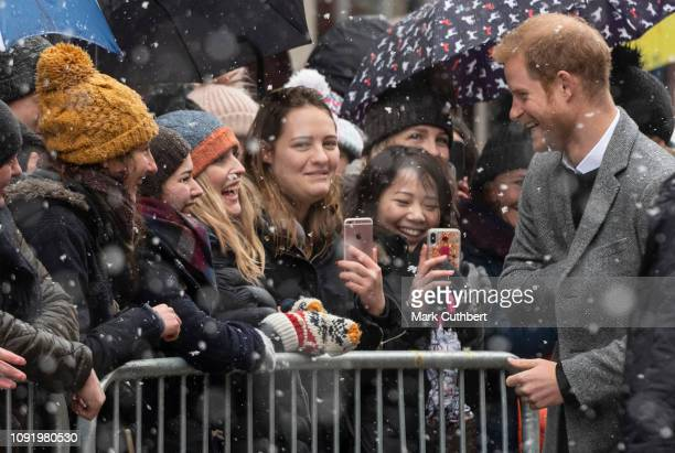 Prince Harry Duke of Sussex visits the Bristol Old Vic and meets members of the public gathered outside on February 1 2019 in Bristol England