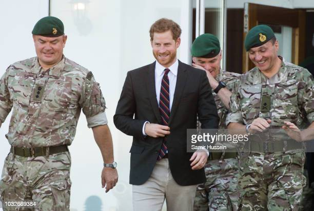Prince Harry Duke of Sussex visits the Royal Marines Commando Training Centre on September 13 2018 in Lympstone United Kingdom The Duke arrived at...