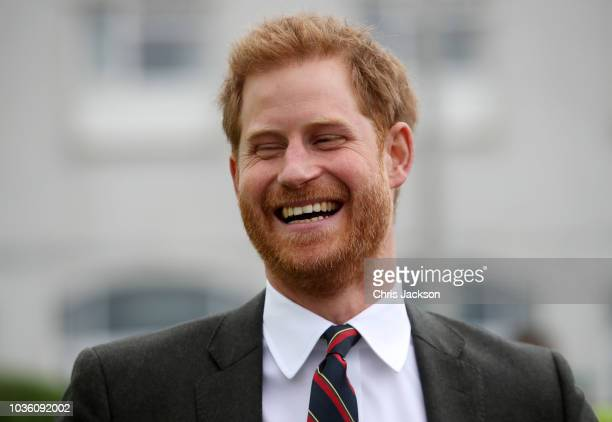 Prince Harry, Duke of Sussex visits The Royal Marines Commando Training Centre on September 13, 2018 in Lympstone, United Kingdom. The Duke arrived...