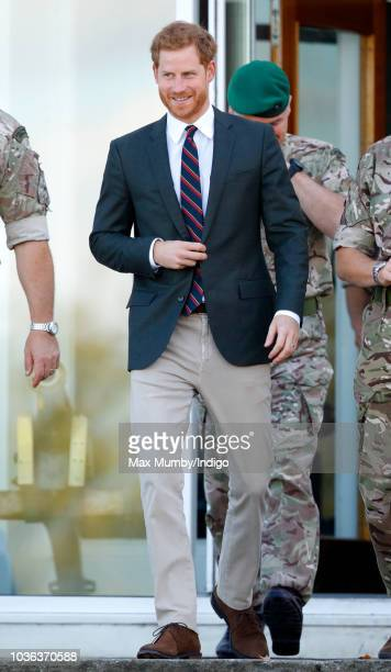 Prince Harry Duke of Sussex visits The Royal Marines Commando Training Centre on September 13 2018 in Lympstone England The Duke arrived at the...