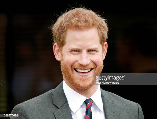 Prince Harry, Duke of Sussex visits The Royal Marines Commando Training Centre on September 13, 2018 in Lympstone, England. The Duke arrived at the...