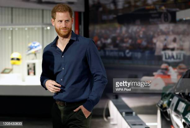 Prince Harry, Duke of Sussex walks around the exhibition at The Silverstone Experience on March 6, 2020 in Northampton, England.