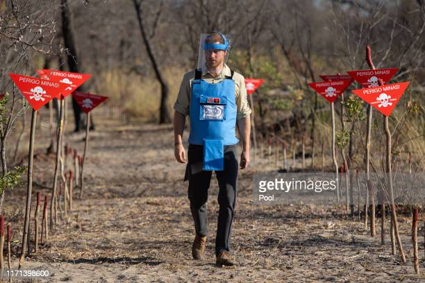 Prince Harry, Duke of Sussex walks through a minefield in Dirico, Angola, during a visit to see the work of landmine clearance charity the Halo...