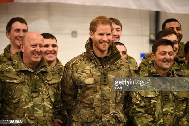 Prince Harry Duke of Sussex with service personnel during a visit to Exercise Clockwork in Bardufoss Norway for a celebration of the 50th anniversary...
