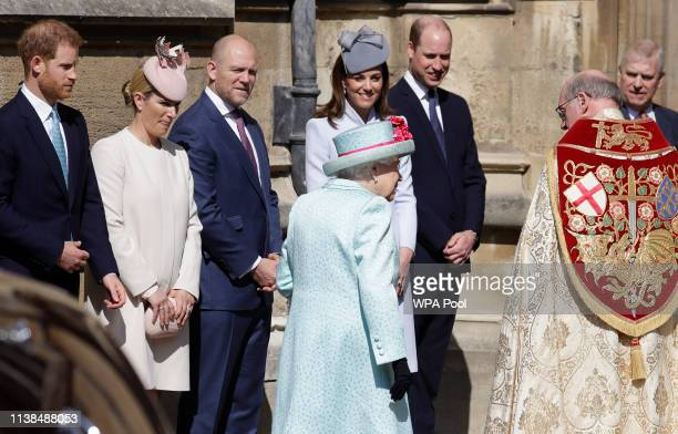 Prince Harry Duke of Sussex Zara Tindall Mike Tindall Catherine Duchess of Cambridge and Prince William Duke of Cambridge greet Queen Elizabeth II as...