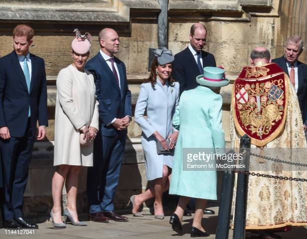 Prince Harry, Duke of Sussex, Zara Tindall, Mike Tindall, Catherine, Duchess of Cambridge and Prince William, Duke of Cambridge greet Queen Elizabeth...