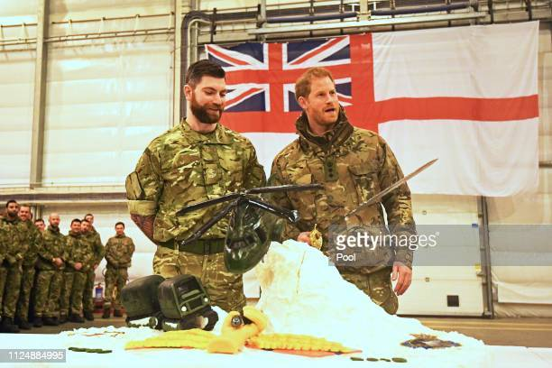 Prince Harry Duke of Sussexspeaking to service personnel during a visit to Exercise Clockwork in Bardufoss Norway for a celebration of the 50th...