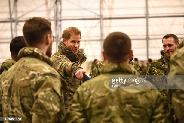 Prince Harry Duke of Sussextalks to service personnel during a visit to Exercise Clockwork in Bardufoss Norway for a celebration of the 50th...