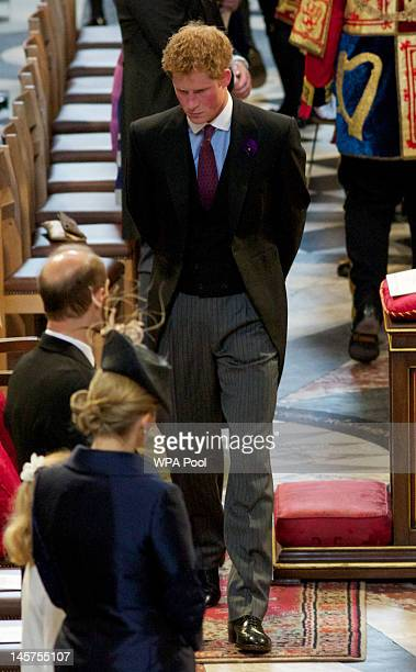 Prince Harry during a service of thanksgiving to mark the Queen's Diamond Jubilee at St Paul's cathedral on June 5 2012 in London England For only...