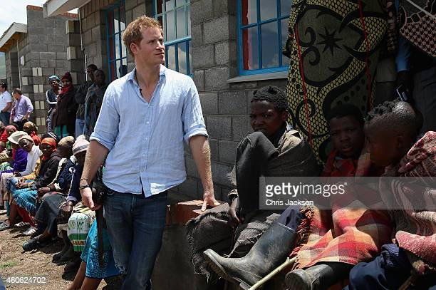 Prince Harry during a visit to a herd boy night school constructed by Sentebale on December 8 2014 in Maseru Lesotho Prince Harry was visiting...