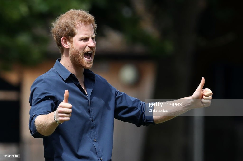 Prince Harry during a visit to StreetGames' Fit and Fed at Central Park East Ham on July 28, 2017 in London, England. The Fit and Fed campaign aims to provide children and young people with access to activity sessions during the summer.