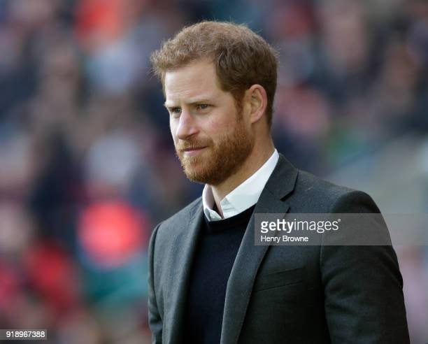 Prince Harry during an England Rugby training session at Twickenham Stadium on February 16, 2018 in London, England.