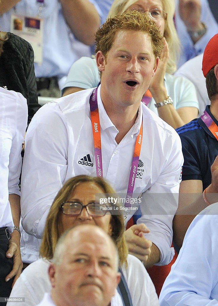 Prince Harry enjoys the atmosphere at the Track Cycling on Day 11 of the London 2012 Olympic Games at the Velodrome on August 7, 2012 in London, England.