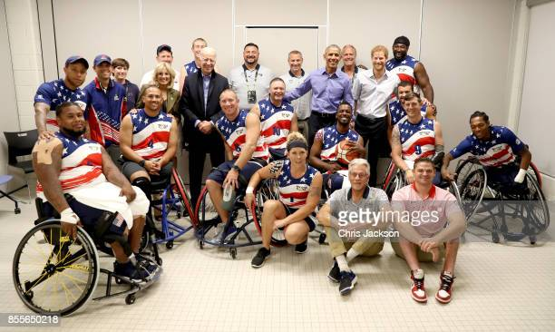 Prince Harry former US President Barack Obama former Vice President of the US Joe Biden and former second lady of the US Jill Biden pose with...