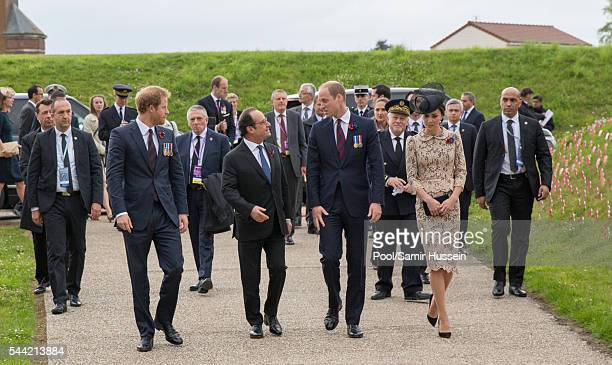 Prince Harry, French President Francois Hollande, Prince William, Duke of Cambridge and Catherine, Duchess of Cambridge attend the commemoration of...