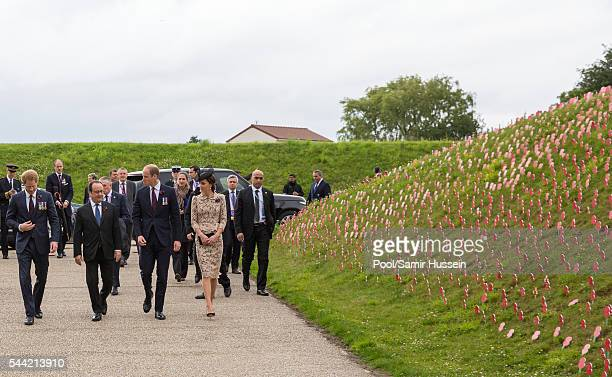 Prince Harry French President Francois Hollande Prince William Duke of Cambridge and Catherine Duchess of Cambridge attend the commemoration of the...