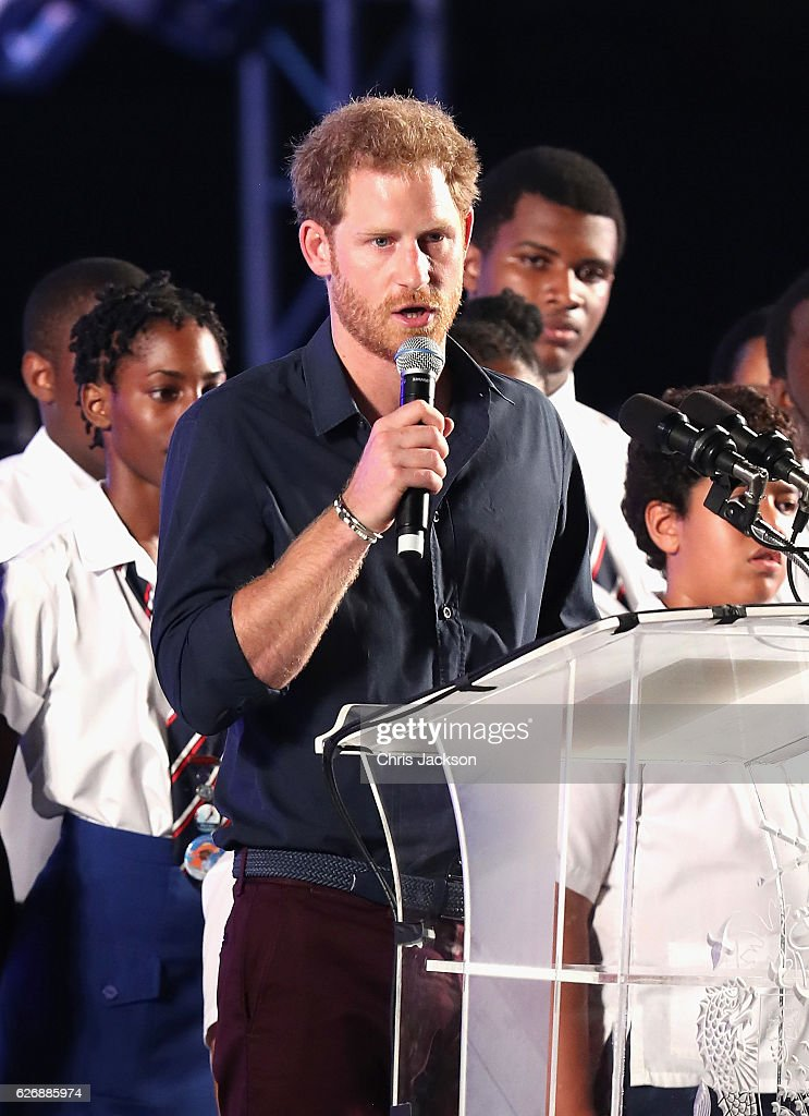 Prince Harry gives a speech as he attends a Golden Anniversary Spectacular Mega Concert at the Kensington Oval Cricket Ground on day 10 of an official visit to the Caribbean on November 30, 2016 in Bridgetown, Barbados. Prince Harry's visit to The Caribbean marks the 35th Anniversary of Independence in Antigua and Barbuda and the 50th Anniversary of Independence in Barbados and Guyana.