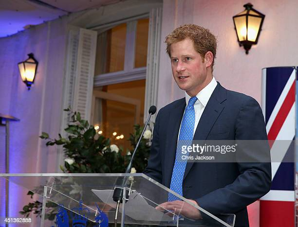 Prince Harry gives a speech at a Queen's Birthday Party event at the British Ambassador's Residence on June 27 2014 in Santiago Chile Prince Harry is...
