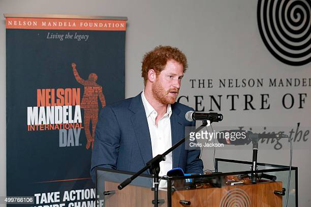 Prince Harry gives a speech at the Nelson Mandela Foundation Centre of Memory on December 3 2015 in Johannesburg South Africa Prince Harry is...