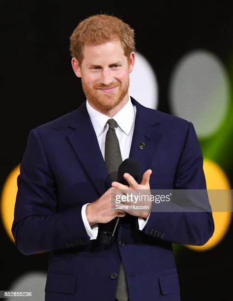 Prince Harry gives a speech at the opening ceremony on day 1 of the Invictus Games Toronto 2017 on September 23 2017 in Toronto Canada The Games use...