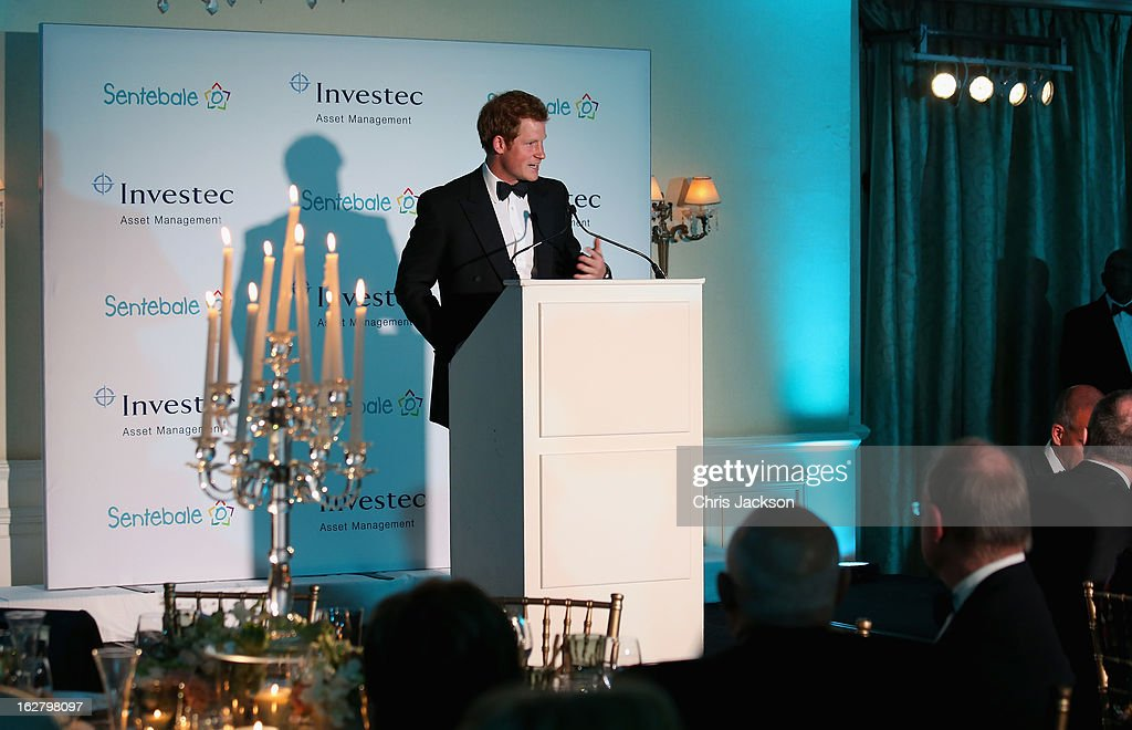 Prince Harry gives a speech at the Sentebale Gala Dinner at Summer Place on February 27, 2013 in Johannesburg, South Africa. Sentebale is a charity founded by Prince Harry and Prince Seeiso of Lesotho. It helps the most vulnerable children in Lesotho get the support they need to lead healthy and productive lives. Sentebale works with local grassroots organisations to help these children, the victims of extreme poverty and Lesotho's HIV/AIDS epidemic.