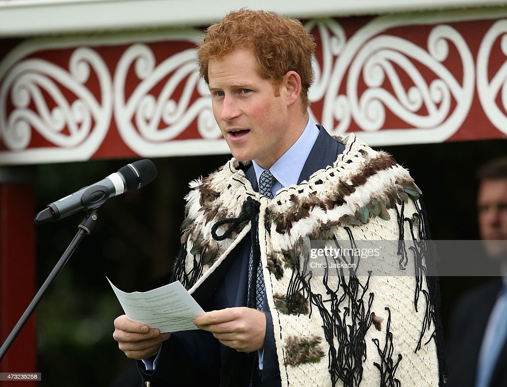 Prince Harry gives a speech in Maori at a powhiri at Putiki Marae (official Welcome) on May 14, 2015 in Wanganui, New Zealand. Prince Harry is in New Zealand from May 9 through to May 16 attending events in Wellington, Invercargill, Stewart Island, Christchurch, Linton, Whanganui and Auckland.