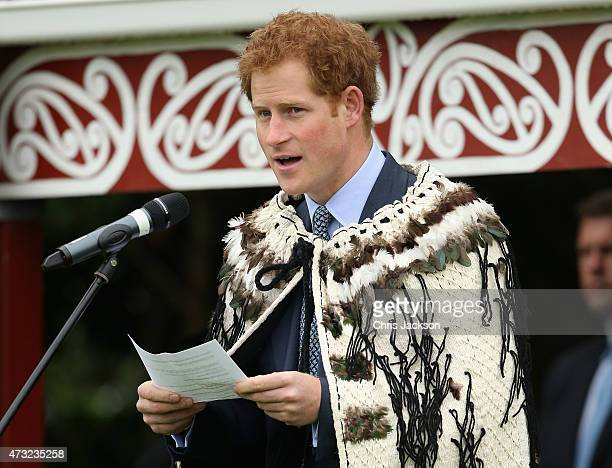 Prince Harry gives a speech in Maori at a powhiri at Putiki Marae on May 14 2015 in Wanganui New Zealand Prince Harry is in New Zealand from May 9...