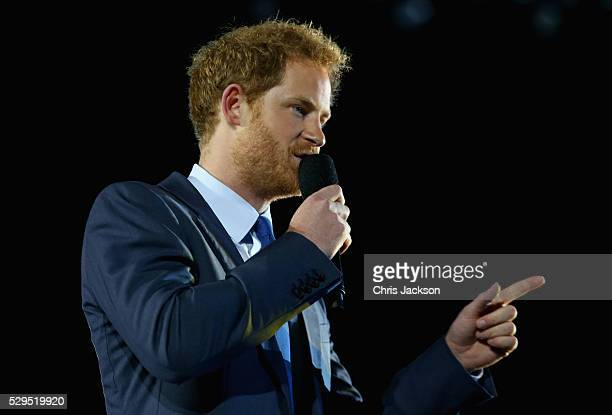 Prince Harry gives a speech on stage during the Opening Ceremony of the Invictus Games Orlando 2016 at ESPN Wide World of Sports on May 8 2016 in...