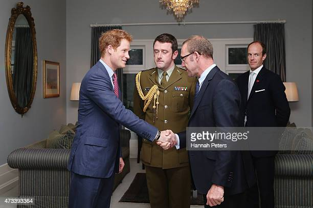 Prince Harry greets Labour Party leader Andrew Little at Government House on May 15 2015 in Auckland New Zealand Prince Harry is in New Zealand from...