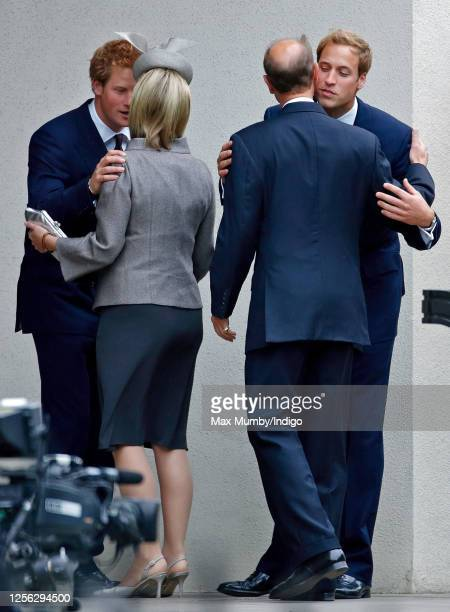 Prince Harry greets Sophie, Countess of Wessex and Prince William greets his uncle Prince Edward, Earl of Wessex as they attend the 10th Anniversary...