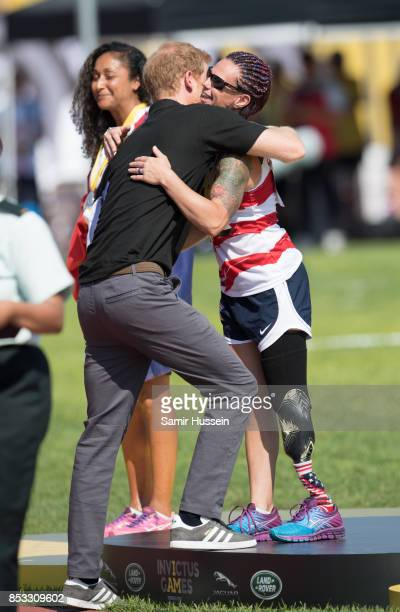 Prince Harry hands out medals the athletics on day 2 of the Invictus Games Toronto 2017 on September 24 2017 in Toronto Canada The Games use the...