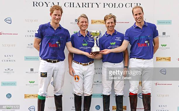 Prince Harry Harald Link James Beim and Prince William Duke of Cambridge of Team Westcombe Group pose after winning the Kent and Curwen Royal Charity...