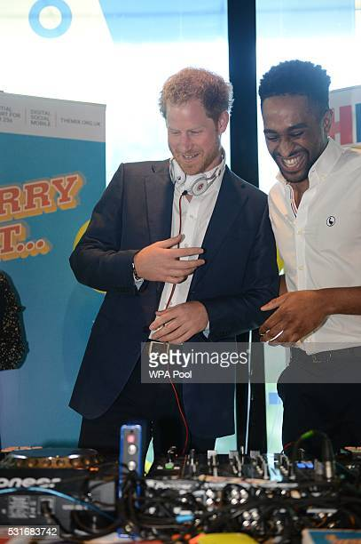 Prince Harry here on decks with DJ AJ King at Queen Elizabeth Olympic Park during the launch of the Heads Together campaign on mental health on May...