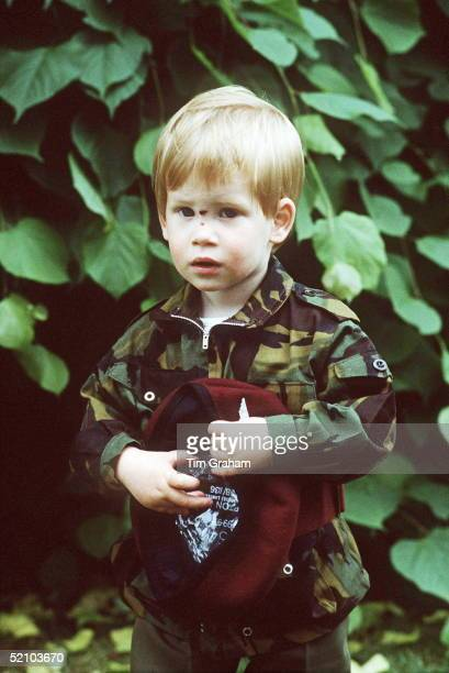 Prince Harry In A Parachute Uniform In The Grounds Of His Home Highgrove House With A Cut On His Nose Caused By A Fall