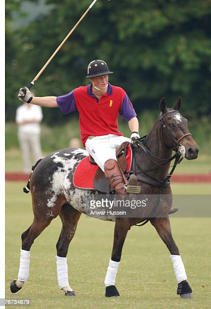 Prince Harry in action at the Beaufort Polo Club near Tetbury on June 18 2006