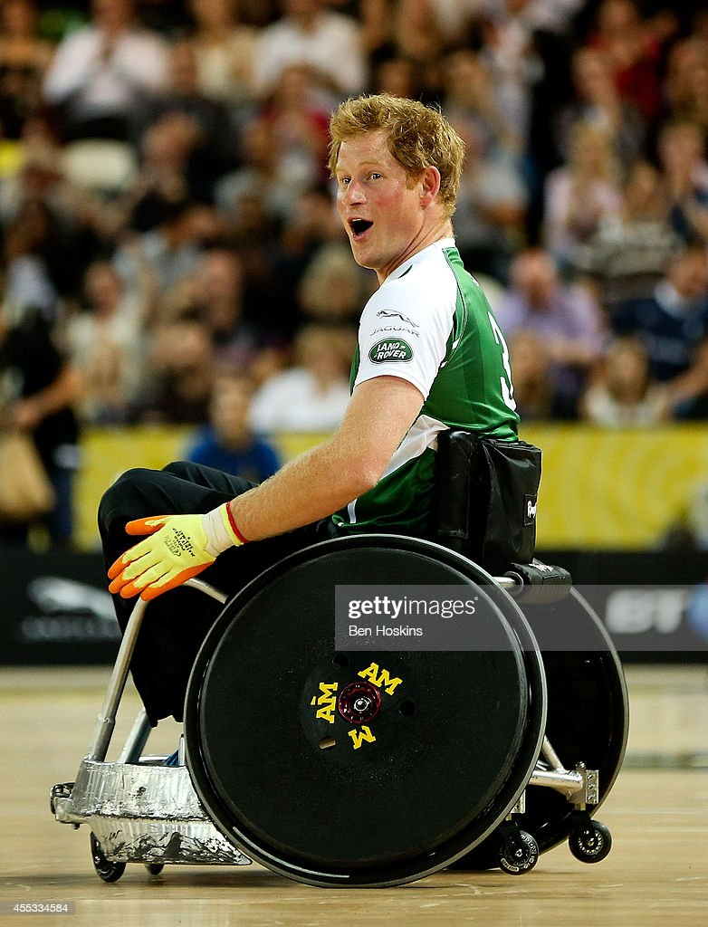 Prince Harry in action during the celebrity match on Day Two of the Invictus Games at Olympic Park on September 12, 2014 in London, England.