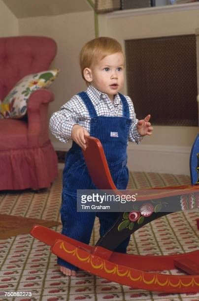 Prince Harry in the playroom at Kensington Palace London 22nd October 1985