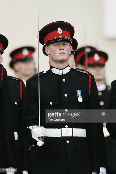 Prince Harry in the Sovereign's Parade at Sandhurst Military Academy, passing-out as commissioned officer Second Lieutenant Harry Wales of the Blues...