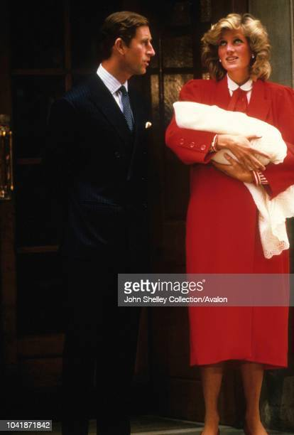 Prince Harry is born at the Lindo Wing of St Mary's Hospital, London, UK, Charles, Prince of Wales, and Diana, Princess of Wales, leave the hospital...