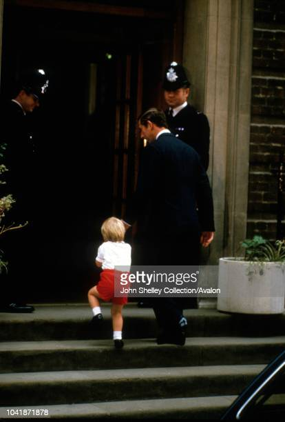 Prince Harry is born at the Lindo Wing of St Mary's Hospital, London, UK, Prince William arrives with his father Charles, Prince of Wales, to visit...