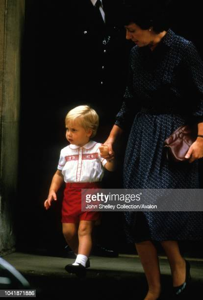 Prince Harry is born at the Lindo Wing of St Mary's Hospital, London, UK, Prince William and nanny Barbara Barnes leave the hospital after visiting...