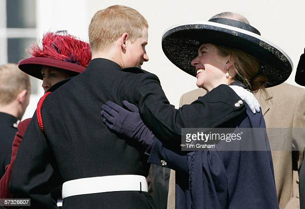 Prince Harry is greeted by Tiggy LeggeBourke at the Sovereign's Parade at Sandhurst Military Academy where he passedout as commissioned officer...