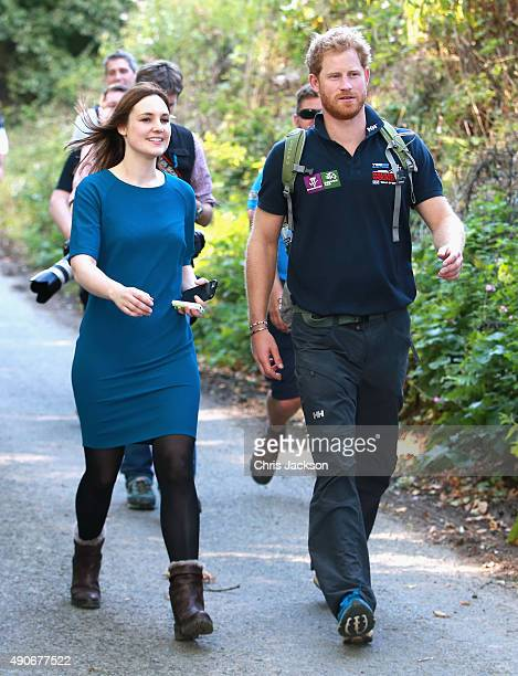 Prince Harry is interviewed by the Mirror Newspaper's Royal Correspondant Victoria Murphy as he walks the route to Ludlow with Walking with the...